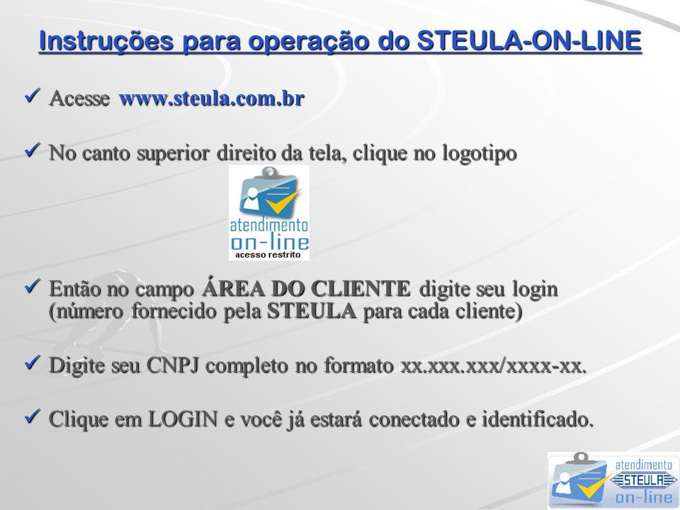 Instruções para operação do STEULA-ON-LINE  Selecionando a opção FAZER DOWNLOADS...