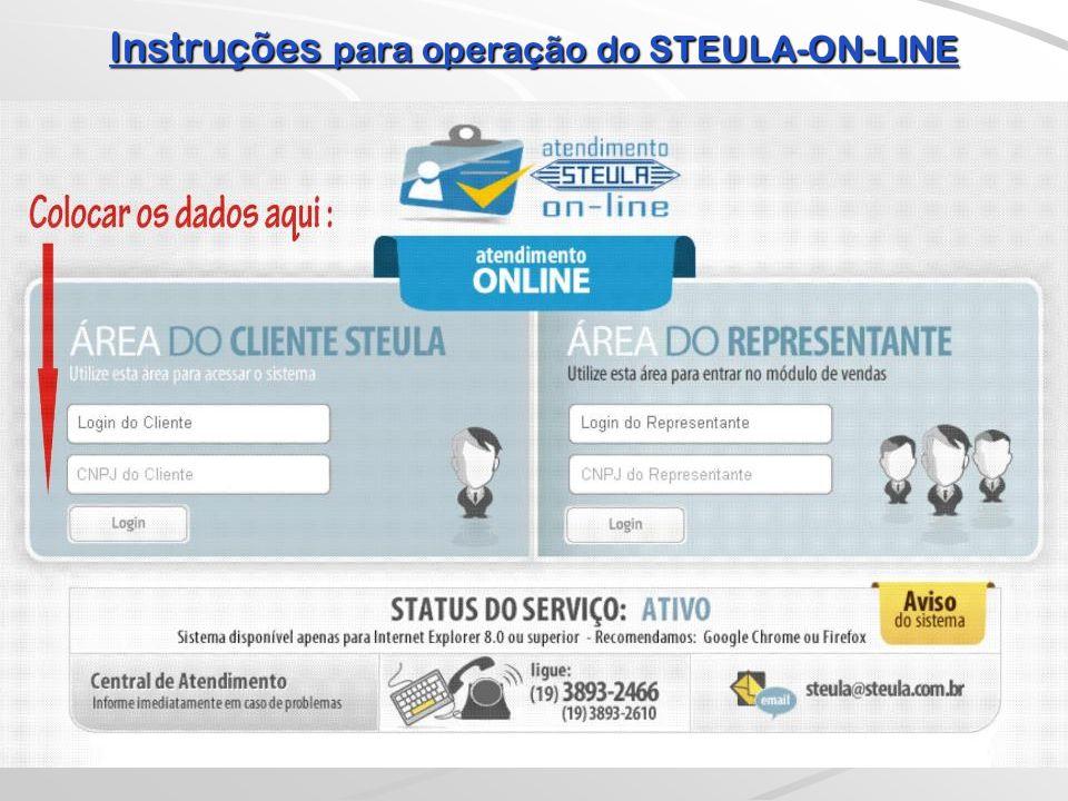 Instruções para operação do STEULA-ON-LINE  E para sair de nosso ATENDIMENTO ON-LINE, basta retornar ao MENU PRINCIPAL...