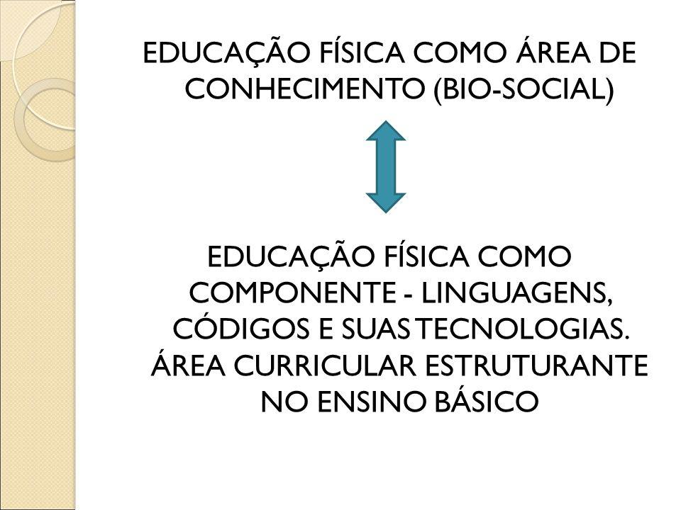 EDUCAÇÃO FÍSICA COMO ÁREA DE CONHECIMENTO (BIO-SOCIAL) EDUCAÇÃO FÍSICA COMO COMPONENTE - LINGUAGENS, CÓDIGOS E SUAS TECNOLOGIAS. ÁREA CURRICULAR ESTRU