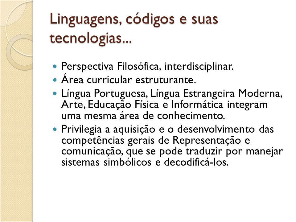 Linguagens, códigos e suas tecnologias... Perspectiva Filosófica, interdisciplinar. Área curricular estruturante. Língua Portuguesa, Língua Estrangeir