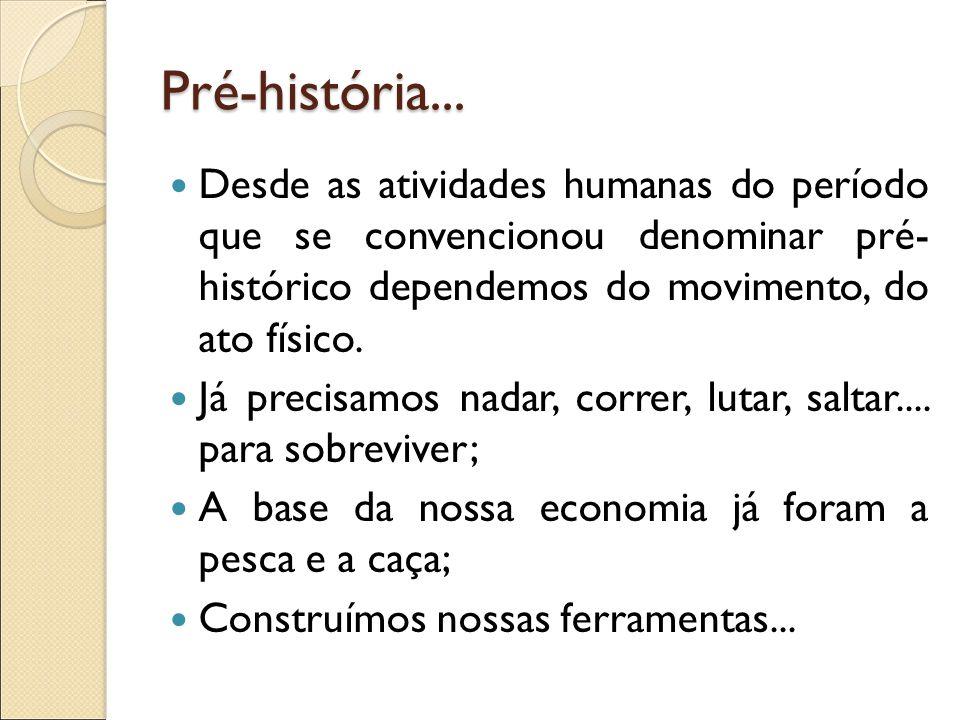 Pré-história... Desde as atividades humanas do período que se convencionou denominar pré- histórico dependemos do movimento, do ato físico. Já precisa