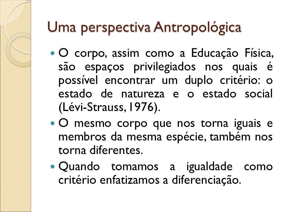Uma perspectiva Antropológica O corpo, assim como a Educação Física, são espaços privilegiados nos quais é possível encontrar um duplo critério: o est
