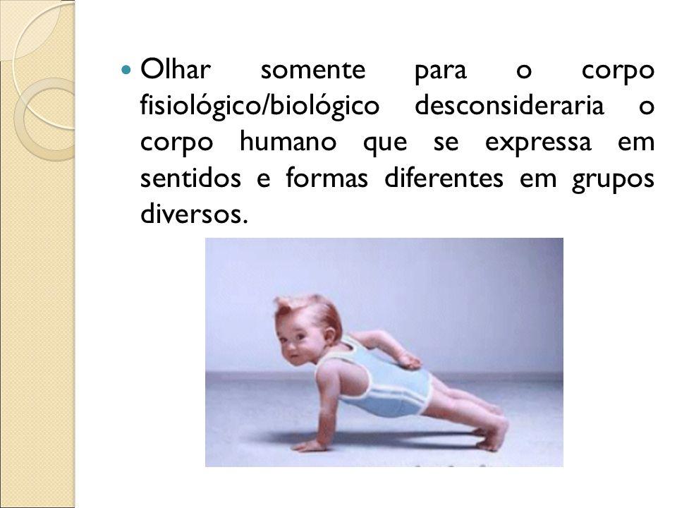 Olhar somente para o corpo fisiológico/biológico desconsideraria o corpo humano que se expressa em sentidos e formas diferentes em grupos diversos.
