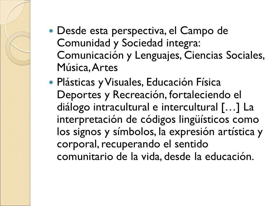 Desde esta perspectiva, el Campo de Comunidad y Sociedad integra: Comunicación y Lenguajes, Ciencias Sociales, Música, Artes Plásticas y Visuales, Edu