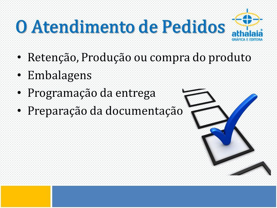 O Atendimento de Pedidos Retenção, Produção ou compra do produto Embalagens Programação da entrega Preparação da documentação