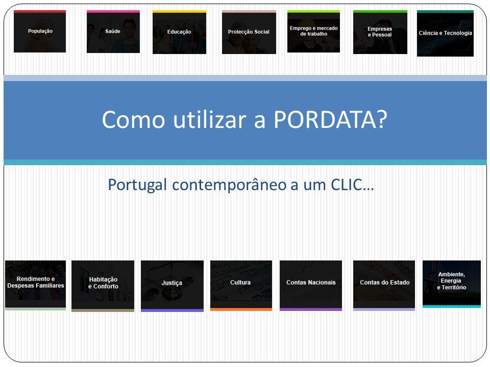 Portugal contemporâneo a um CLIC… Como utilizar a PORDATA
