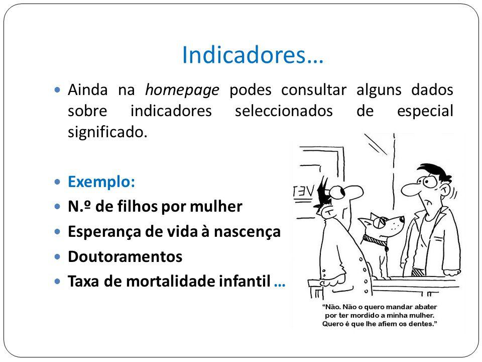 Indicadores… Ainda na homepage podes consultar alguns dados sobre indicadores seleccionados de especial significado.