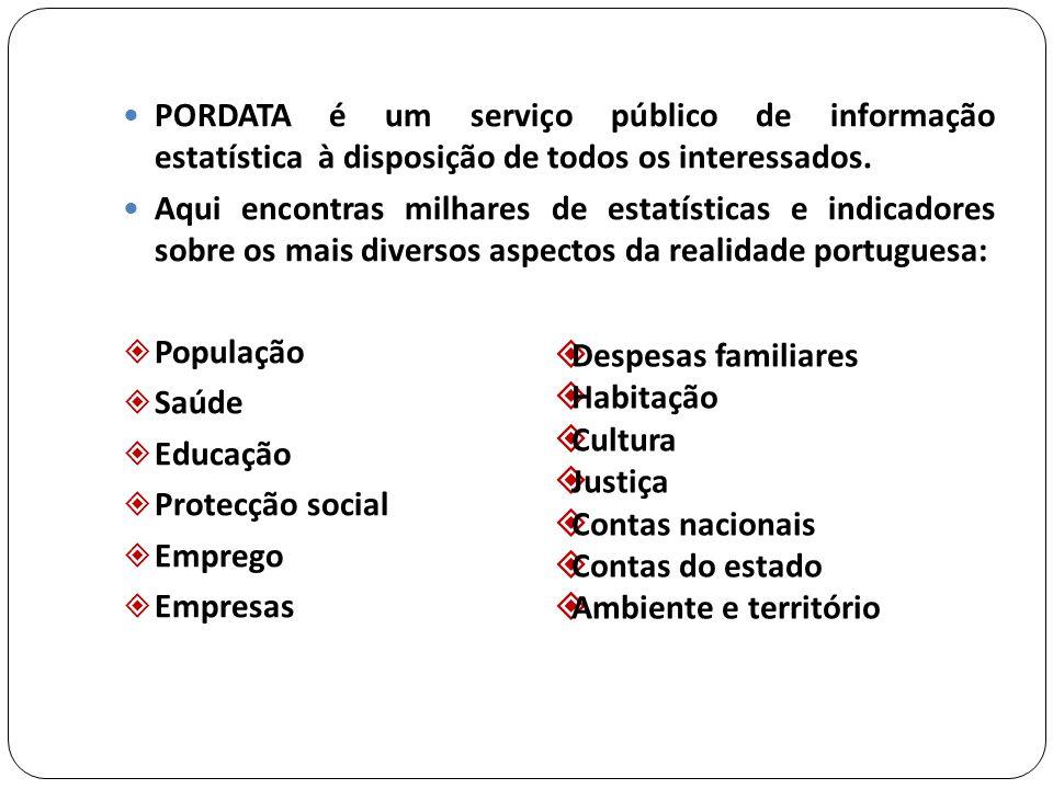 PORDATA é um serviço público de informação estatística à disposição de todos os interessados.