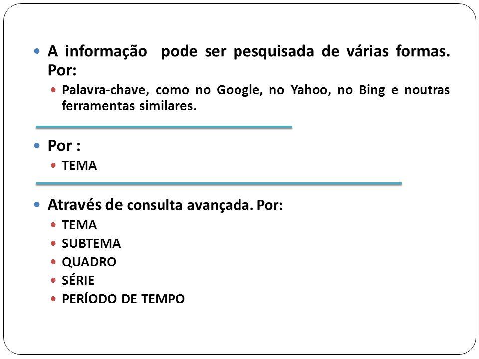 A informação pode ser pesquisada de várias formas.