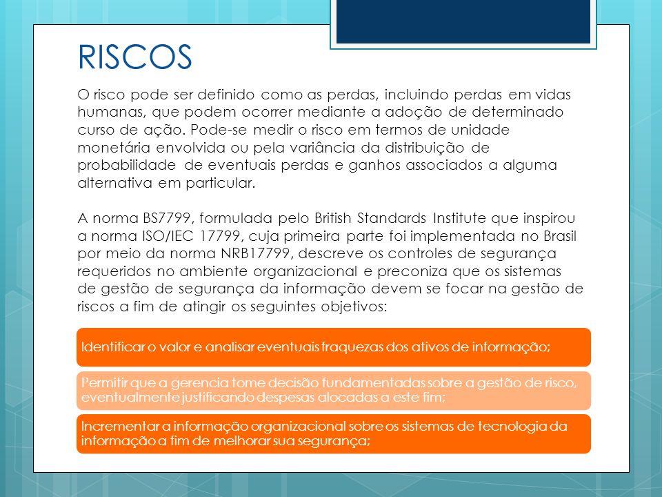 RISCOS O risco pode ser definido como as perdas, incluindo perdas em vidas humanas, que podem ocorrer mediante a adoção de determinado curso de ação.