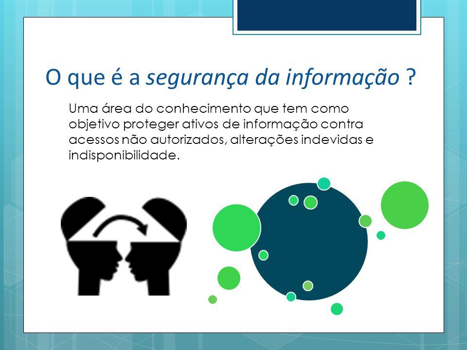 O que é a segurança da informação ? Uma área do conhecimento que tem como objetivo proteger ativos de informação contra acessos não autorizados, alter