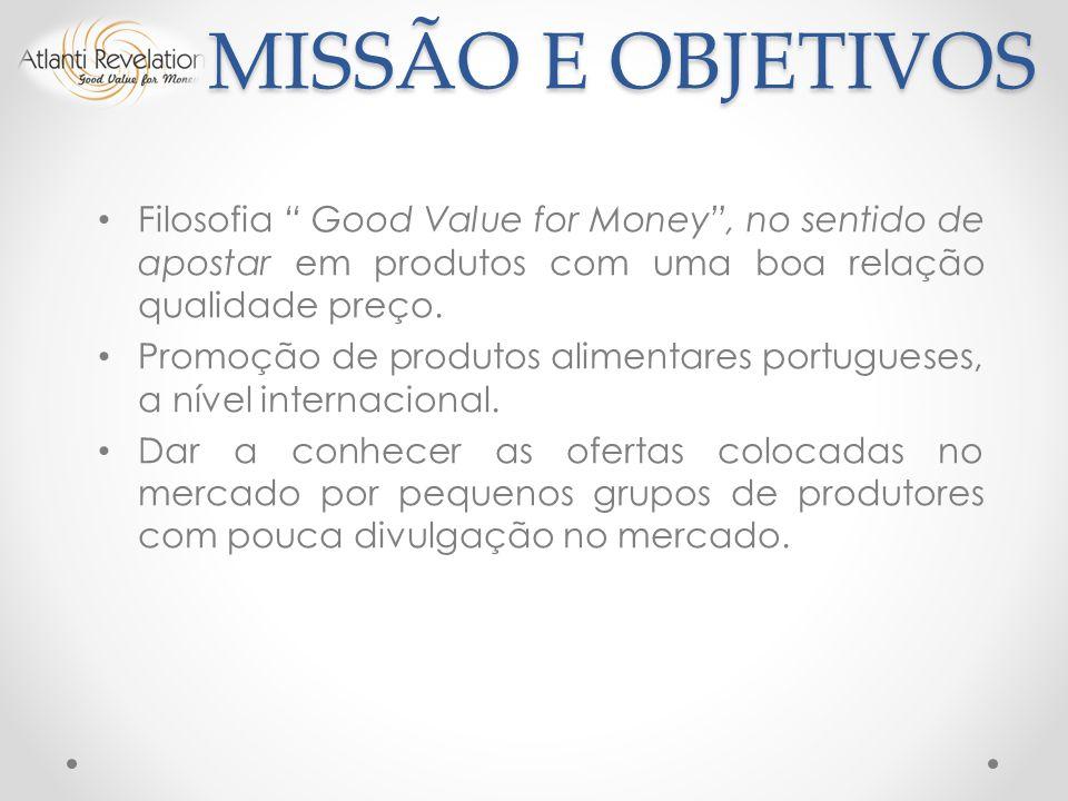 MISSÃO E OBJETIVOS Filosofia Good Value for Money , no sentido de apostar em produtos com uma boa relação qualidade preço.