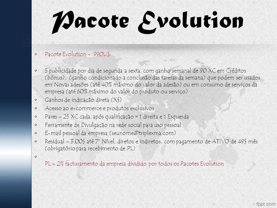 Pacote Evolution Pacote Evolution - 990U$: 5 publicidade por dia de segunda a sexta, com ganho semanal de 90 XC em Créditos (bônus), (ganho condicionado a conclusão das tarefas da semana) que podem ser usados em Novas adesões (até 40% máximo do valor da adesão) ou em consumo de serviços da empresa (até 60% máximo do valor do produto ou serviço) Ganhos de indicação direta (X$) Acesso ao e-commerce e produtos exclusivos Pares – 25 XC cada, após qualificação = 1 direita e 1 Esquerda Ferramente de Divulgação na rede social para uso pessoal E-mail pessoal da empresa (seunome@triplexma.com) Residual – 3,00$ até 7* Nível, diretos e indiretos, com pagamento de ATIVO de 49$ mês (obrigatório para recebimento de PL) PL – 2% facturamento da empresa dividido por todos os Pacotes Evolution