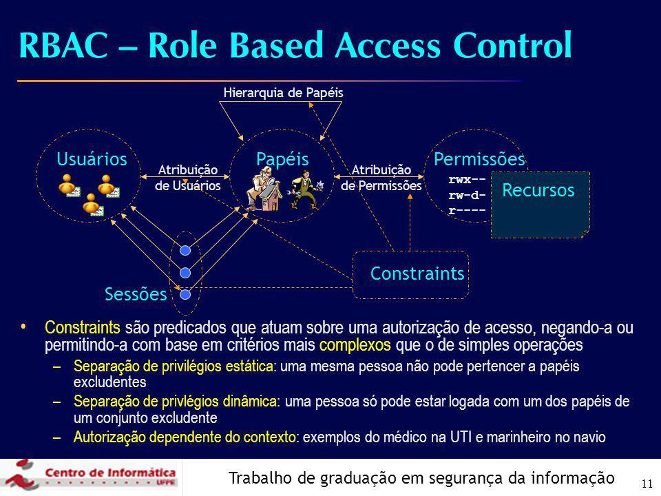 Trabalho de graduação em segurança da informação 11 RBAC – Role Based Access Control Constraints são predicados que atuam sobre uma autorização de ace