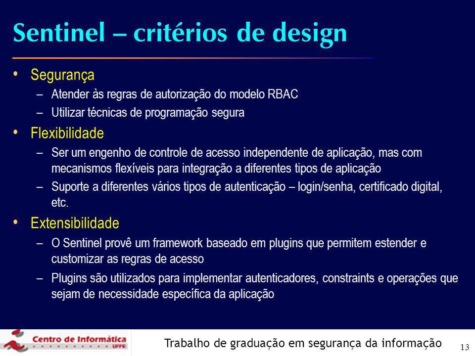Trabalho de graduação em segurança da informação 13 Sentinel – critérios de design Segurança –Atender às regras de autorização do modelo RBAC –Utiliza