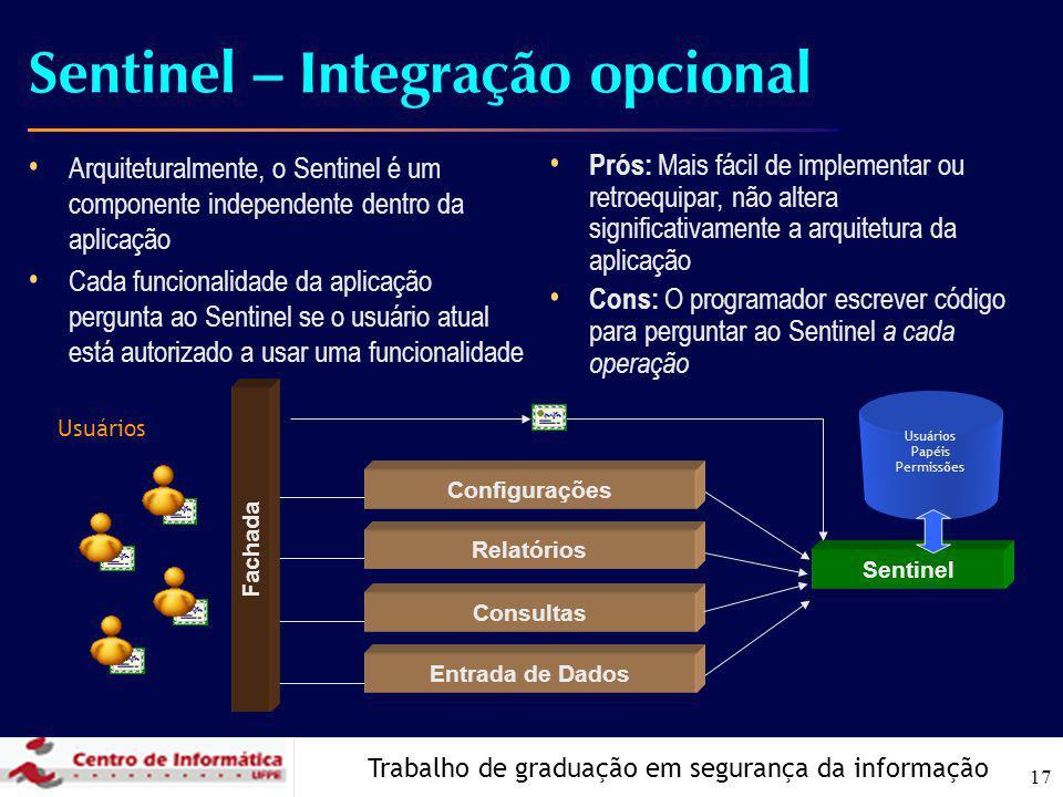 Trabalho de graduação em segurança da informação 17 Sentinel – Integração opcional Arquiteturalmente, o Sentinel é um componente independente dentro d