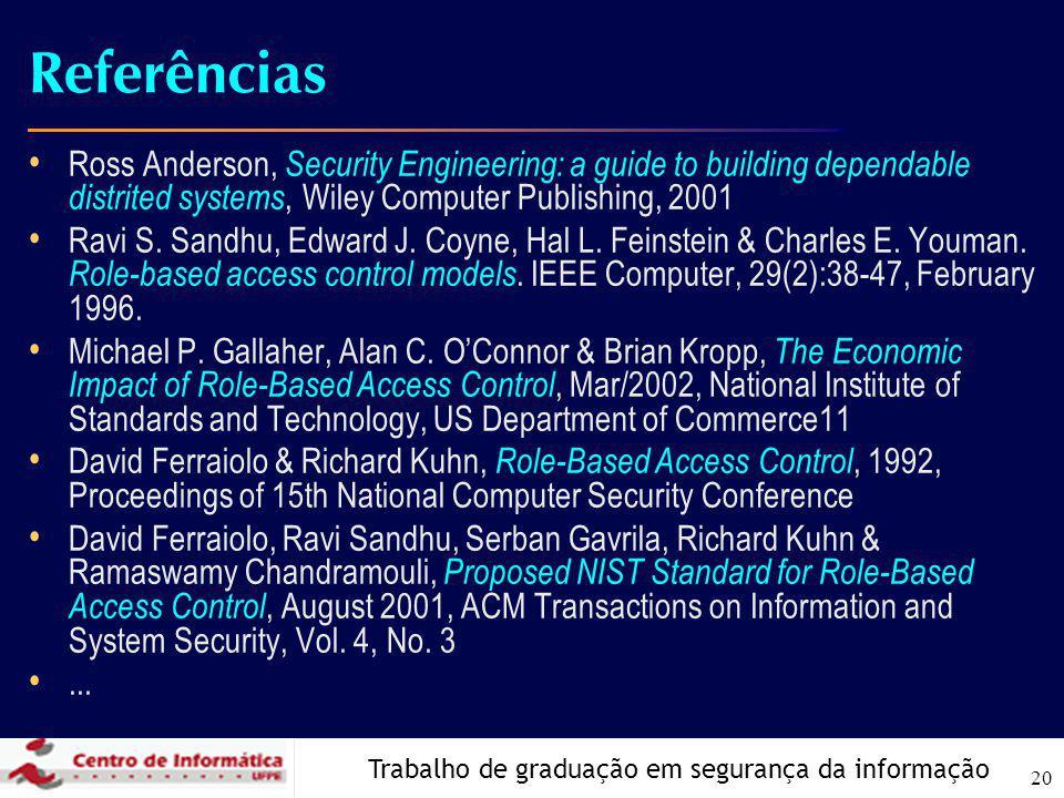 Trabalho de graduação em segurança da informação 20 Referências Ross Anderson, Security Engineering: a guide to building dependable distrited systems, Wiley Computer Publishing, 2001 Ravi S.
