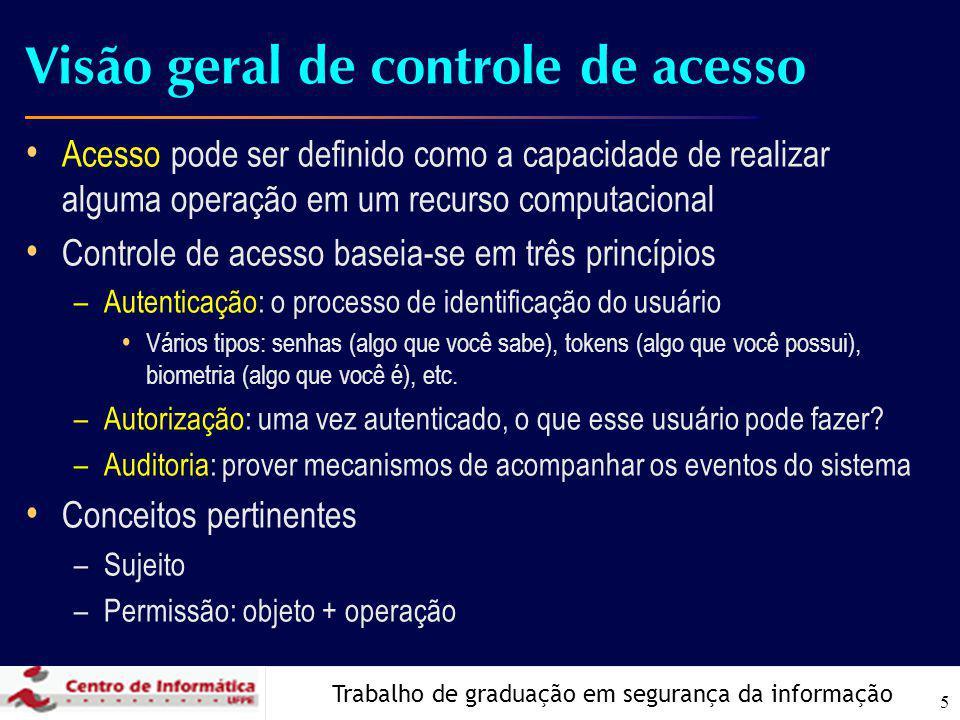 Trabalho de graduação em segurança da informação 5 Visão geral de controle de acesso Acesso pode ser definido como a capacidade de realizar alguma ope