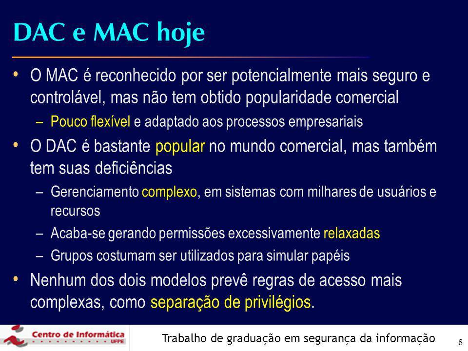 Trabalho de graduação em segurança da informação 8 DAC e MAC hoje O MAC é reconhecido por ser potencialmente mais seguro e controlável, mas não tem obtido popularidade comercial –Pouco flexível e adaptado aos processos empresariais O DAC é bastante popular no mundo comercial, mas também tem suas deficiências –Gerenciamento complexo, em sistemas com milhares de usuários e recursos –Acaba-se gerando permissões excessivamente relaxadas –Grupos costumam ser utilizados para simular papéis Nenhum dos dois modelos prevê regras de acesso mais complexas, como separação de privilégios.