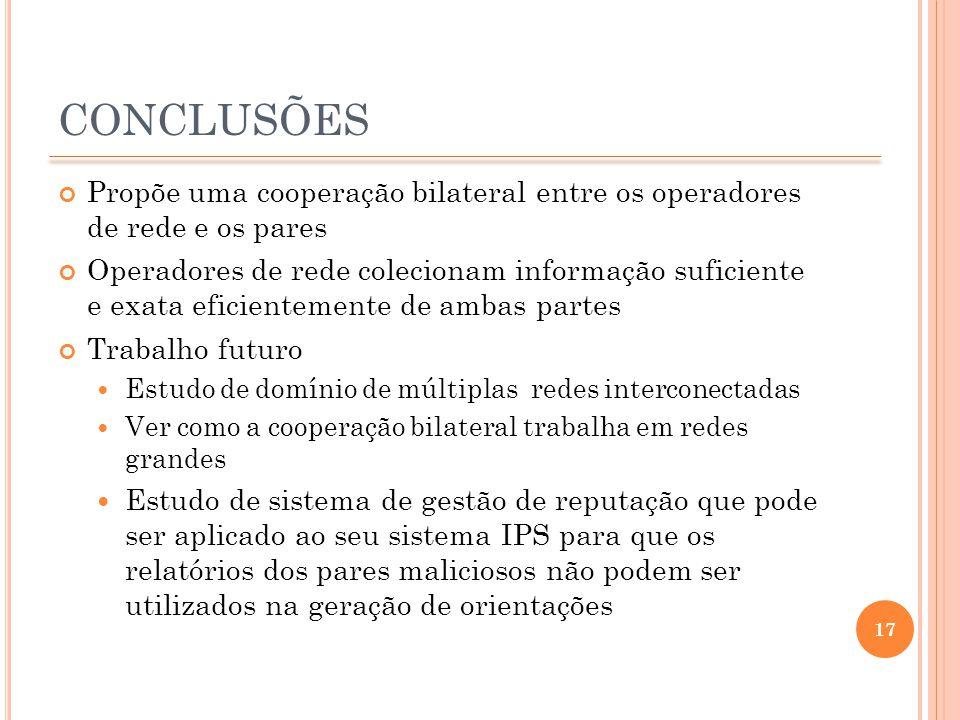 CONCLUSÕES Propõe uma cooperação bilateral entre os operadores de rede e os pares Operadores de rede colecionam informação suficiente e exata eficientemente de ambas partes Trabalho futuro Estudo de domínio de múltiplas redes interconectadas Ver como a cooperação bilateral trabalha em redes grandes Estudo de sistema de gestão de reputação que pode ser aplicado ao seu sistema IPS para que os relatórios dos pares maliciosos não podem ser utilizados na geração de orientações 17