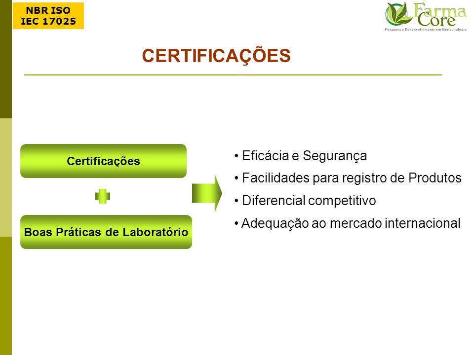 Boas Práticas de Laboratório Certificações CERTIFICAÇÕES Eficácia e Segurança Facilidades para registro de Produtos Diferencial competitivo Adequação