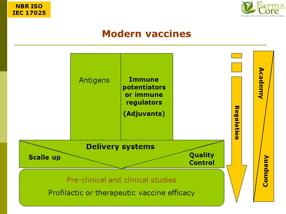 Modern vaccines Antigens Delivery systems Pre-clinical and clinical studies Profilactic or therapeutic vaccine efficacy Regulation Academy Company Sca