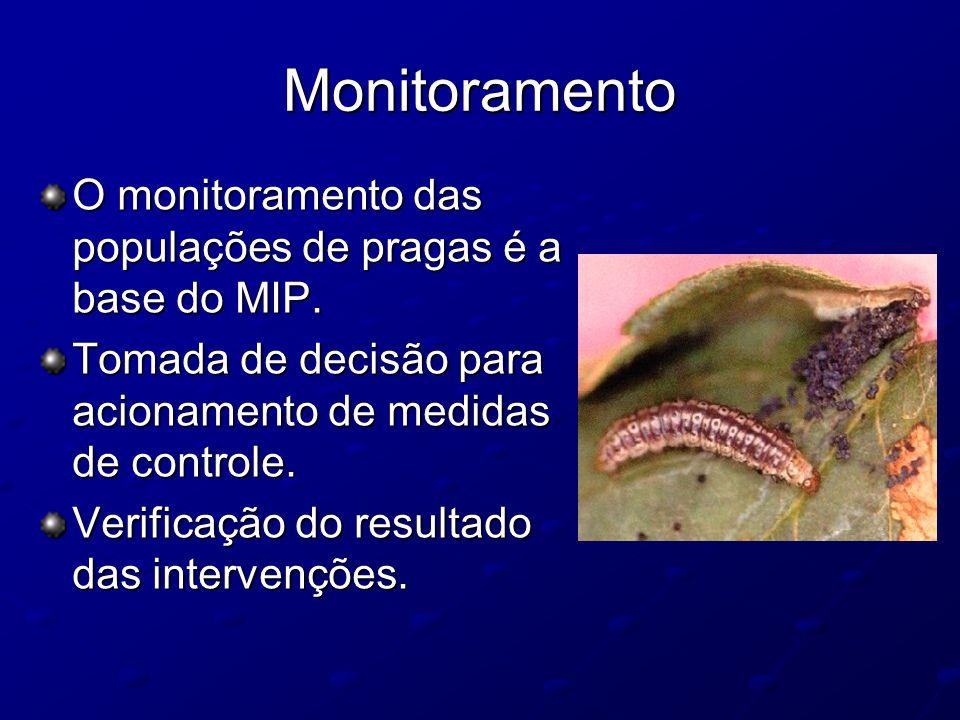 Monitoramento O monitoramento das populações de pragas é a base do MIP. Tomada de decisão para acionamento de medidas de controle. Verificação do resu