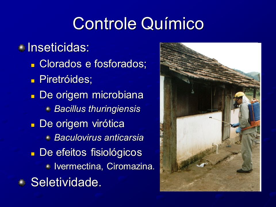 Controle Químico Inseticidas: Clorados e fosforados; Clorados e fosforados; Piretróides; Piretróides; De origem microbiana De origem microbiana Bacill