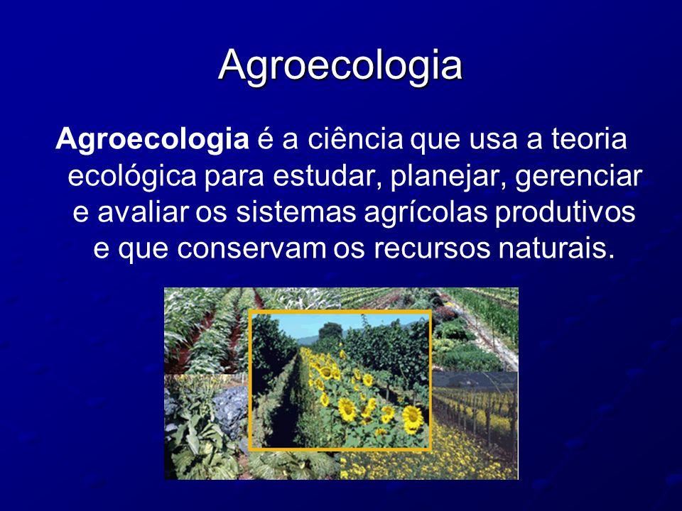 Agroecologia Agroecologia é a ciência que usa a teoria ecológica para estudar, planejar, gerenciar e avaliar os sistemas agrícolas produtivos e que co