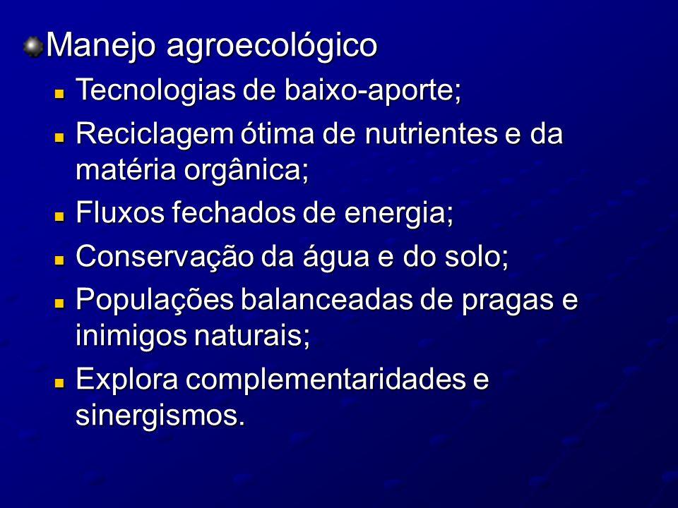 Manejo agroecológico Tecnologias de baixo-aporte; Tecnologias de baixo-aporte; Reciclagem ótima de nutrientes e da matéria orgânica; Reciclagem ótima