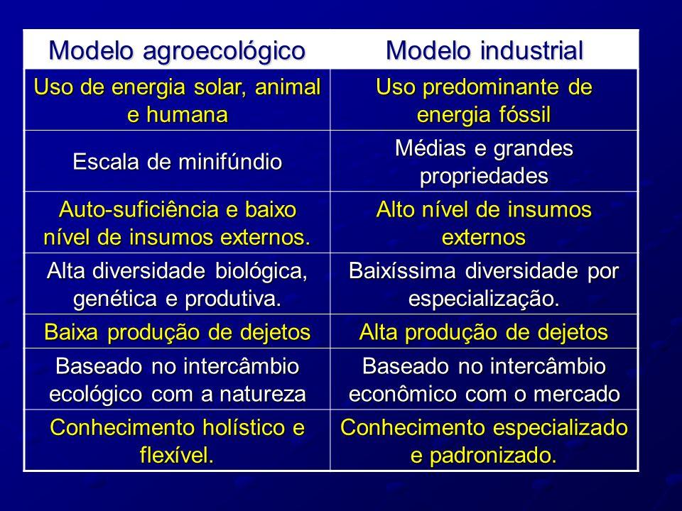 Modelo agroecológico Modelo industrial Uso de energia solar, animal e humana Uso predominante de energia fóssil Escala de minifúndio Médias e grandes