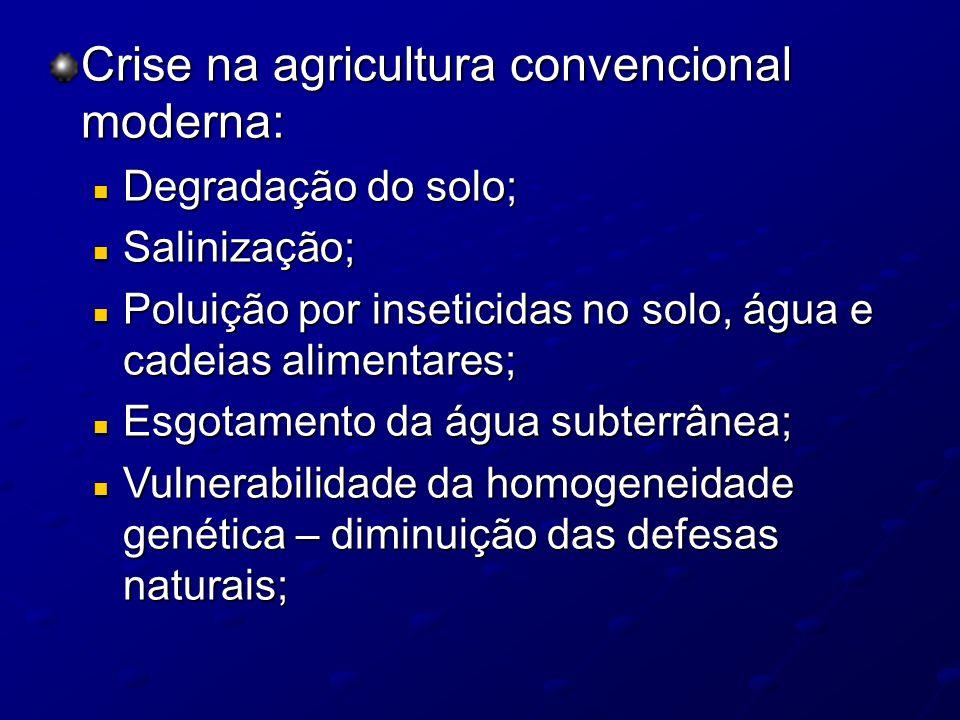 Crise na agricultura convencional moderna: Degradação do solo; Degradação do solo; Salinização; Salinização; Poluição por inseticidas no solo, água e