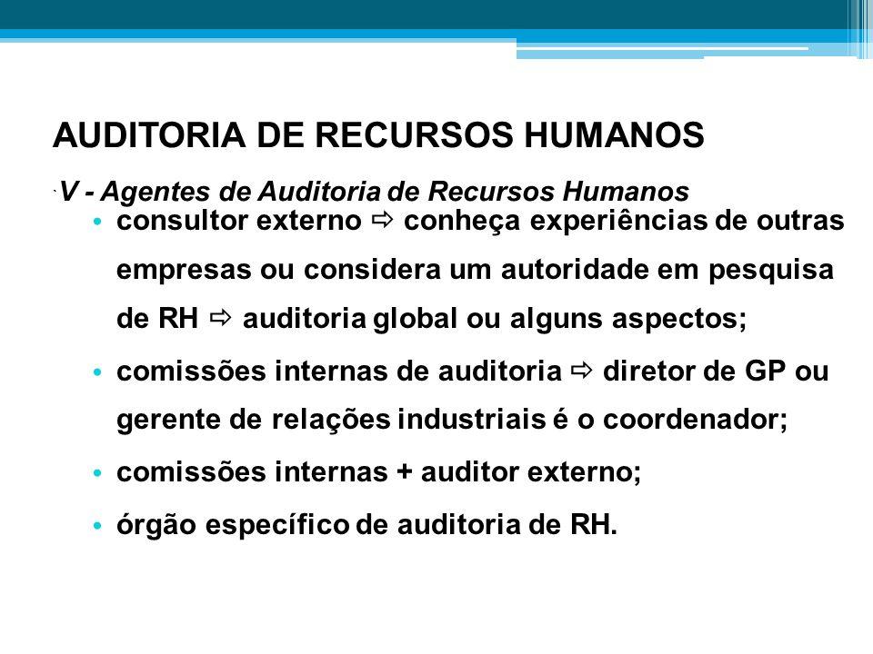 AUDITORIA DE RECURSOS HUMANOS ` V - Agentes de Auditoria de Recursos Humanos consultor externo  conheça experiências de outras empresas ou considera