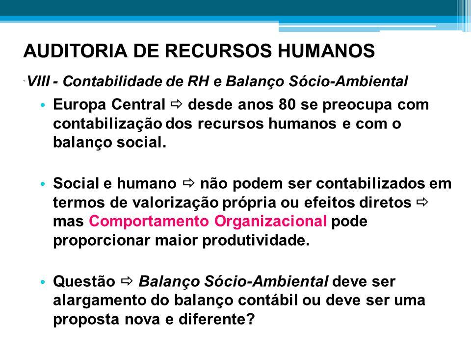 AUDITORIA DE RECURSOS HUMANOS ` VIII - Contabilidade de RH e Balanço Sócio-Ambiental Europa Central  desde anos 80 se preocupa com contabilização dos