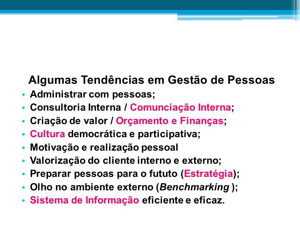 Algumas Tendências em Gestão de Pessoas Administrar com pessoas; Consultoria Interna / Comunciação Interna; Criação de valor / Orçamento e Finanças; C
