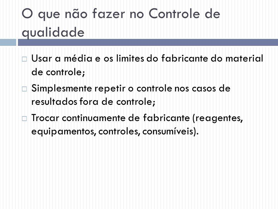 O que não fazer no Controle de qualidade  Usar a média e os limites do fabricante do material de controle;  Simplesmente repetir o controle nos caso