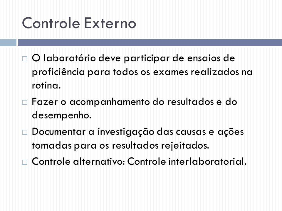 Controle Externo  O laboratório deve participar de ensaios de proficiência para todos os exames realizados na rotina.  Fazer o acompanhamento do res