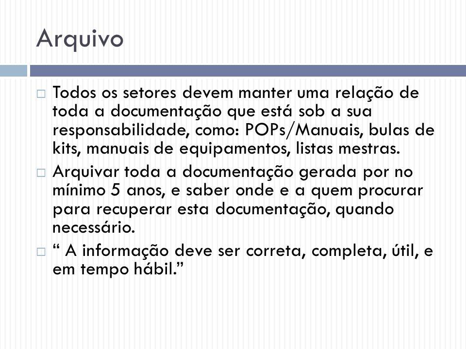 Arquivo  Todos os setores devem manter uma relação de toda a documentação que está sob a sua responsabilidade, como: POPs/Manuais, bulas de kits, man