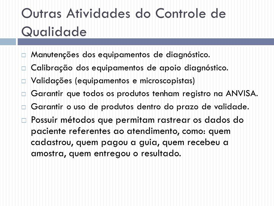Outras Atividades do Controle de Qualidade  Manutenções dos equipamentos de diagnóstico.  Calibração dos equipamentos de apoio diagnóstico.  Valida