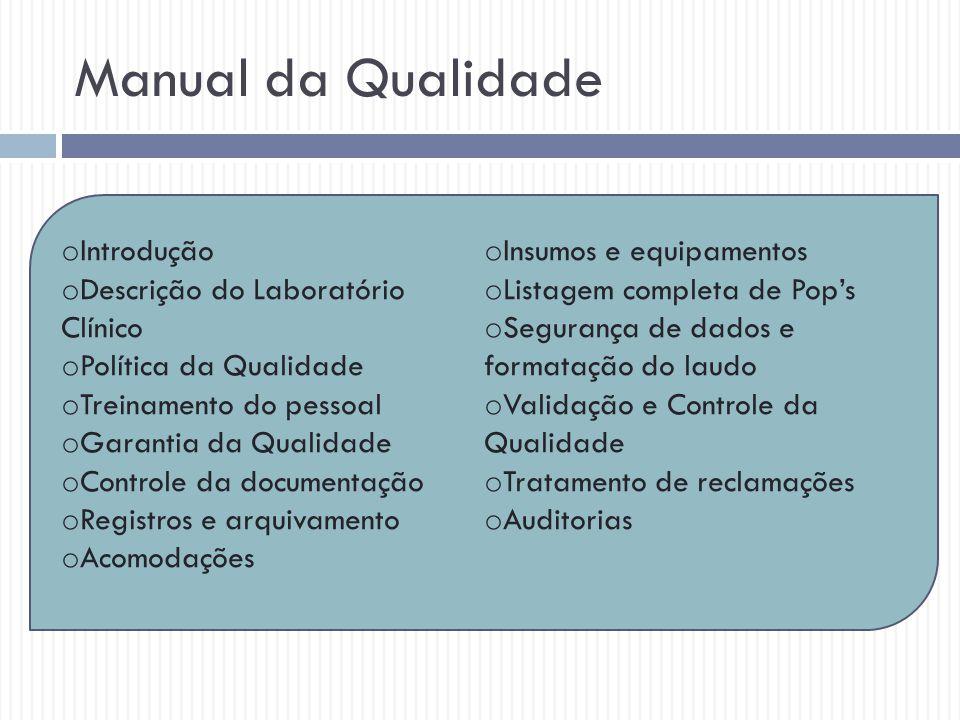 Manual da Qualidade o Introdução o Descrição do Laboratório Clínico o Política da Qualidade o Treinamento do pessoal o Garantia da Qualidade o Control
