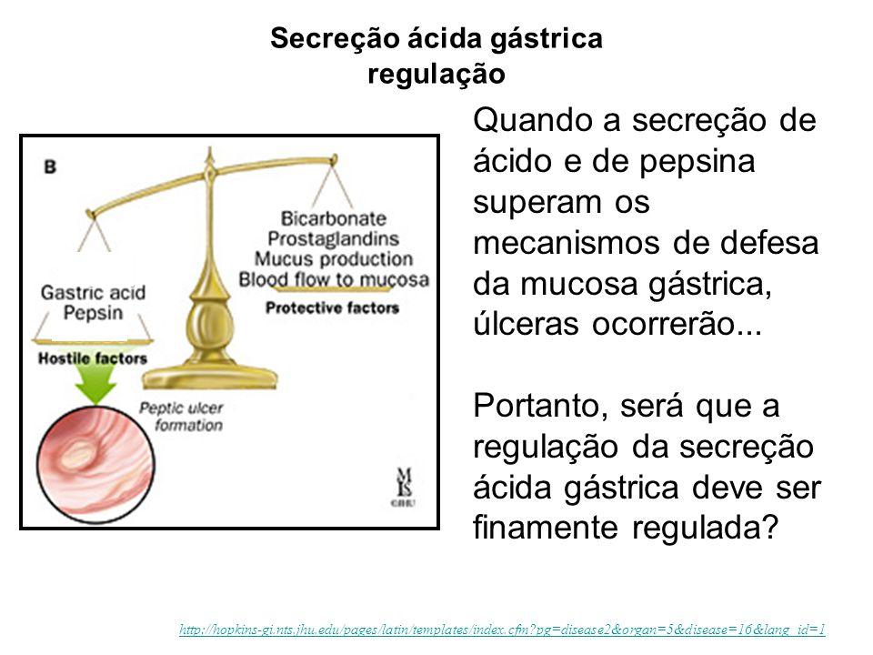 Quando a secreção de ácido e de pepsina superam os mecanismos de defesa da mucosa gástrica, úlceras ocorrerão... Portanto, será que a regulação da sec