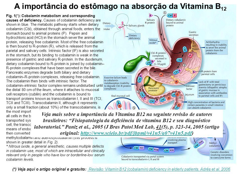 A importância do estômago na absorção da Vitamina B 12 Fig. 1(*): Cobalamin metabolism and corresponding causes of deficiency. Causes of cobalamin def