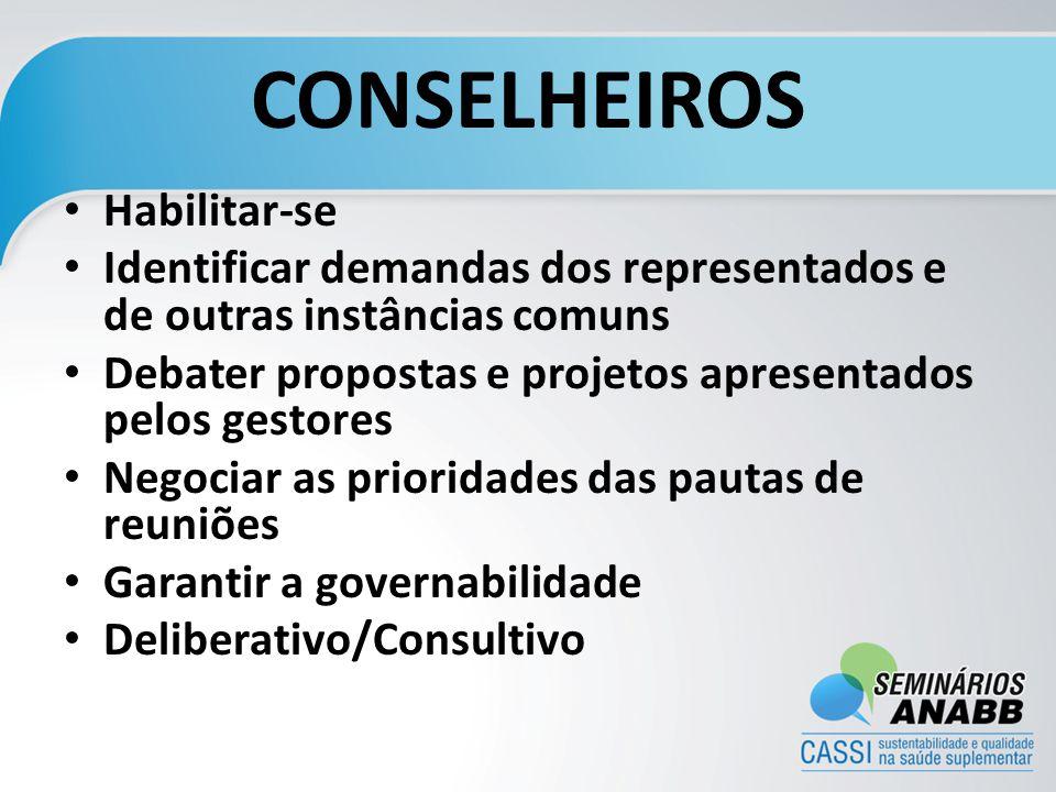 CONSELHEIROS Habilitar-se Identificar demandas dos representados e de outras instâncias comuns Debater propostas e projetos apresentados pelos gestore