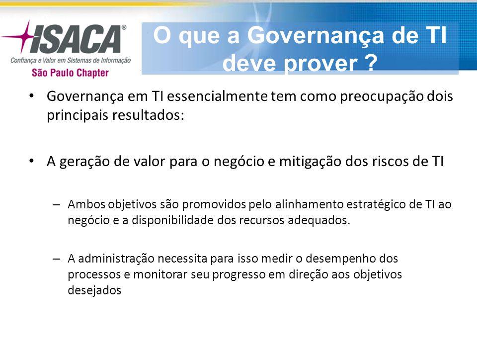 Dentro desse contexto, a Governança de TI concentra seu foco em cinco áreas principais: 1.