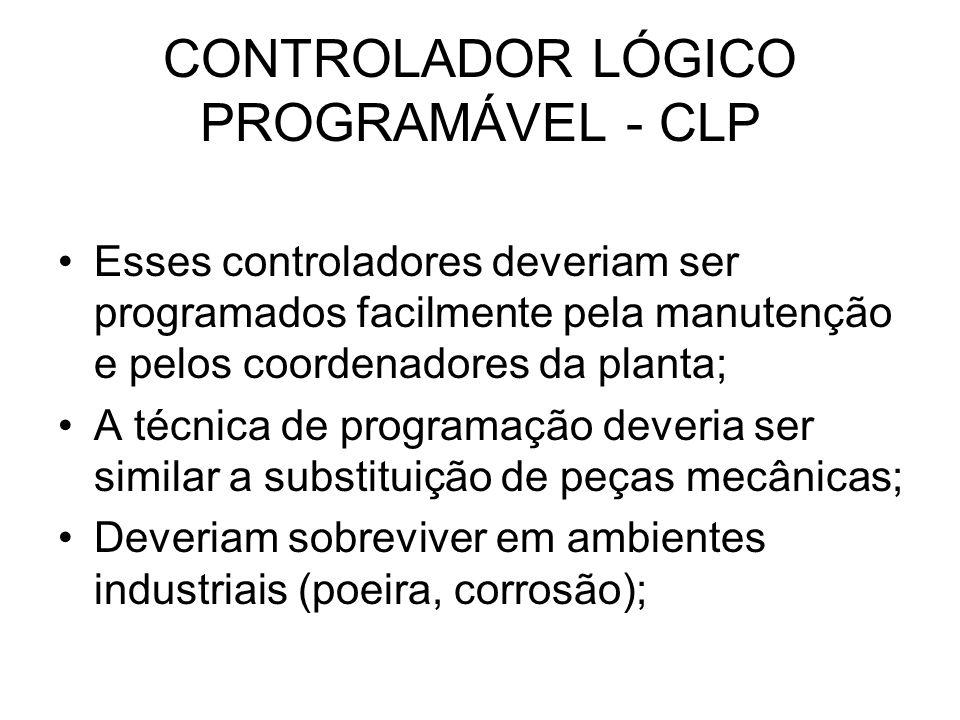 CONTROLADOR LÓGICO PROGRAMÁVEL - CLP Esses controladores deveriam ser programados facilmente pela manutenção e pelos coordenadores da planta; A técnic