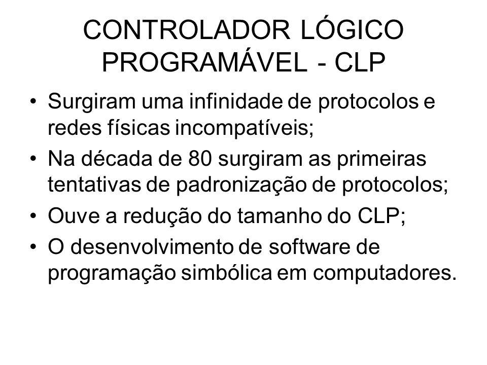 CONTROLADOR LÓGICO PROGRAMÁVEL - CLP Surgiram uma infinidade de protocolos e redes físicas incompatíveis; Na década de 80 surgiram as primeiras tentat