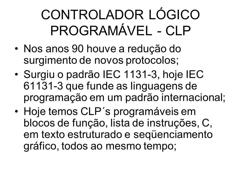 CONTROLADOR LÓGICO PROGRAMÁVEL - CLP Nos anos 90 houve a redução do surgimento de novos protocolos; Surgiu o padrão IEC 1131-3, hoje IEC 61131-3 que f