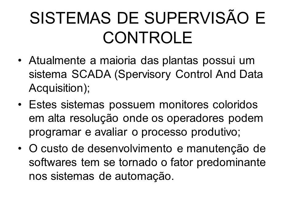 SISTEMAS DE SUPERVISÃO E CONTROLE Atualmente a maioria das plantas possui um sistema SCADA (Spervisory Control And Data Acquisition); Estes sistemas p
