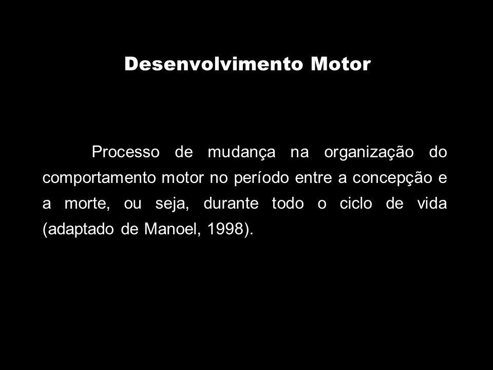 Desenvolvimento Motor Processo de mudança na organização do comportamento motor no período entre a concepção e a morte, ou seja, durante todo o ciclo de vida (adaptado de Manoel, 1998).