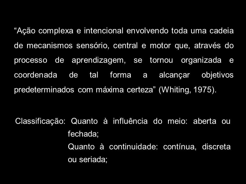 Ação complexa e intencional envolvendo toda uma cadeia de mecanismos sensório, central e motor que, através do processo de aprendizagem, se tornou organizada e coordenada de tal forma a alcançar objetivos predeterminados com máxima certeza (Whiting, 1975).